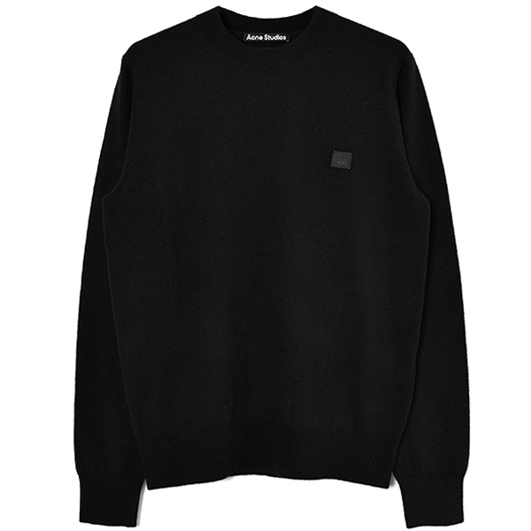 Crewneck wool sweater/BLACK