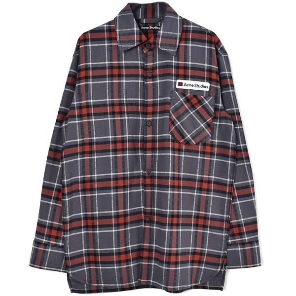 Logo patch flannel overshirt/GRAY/RED