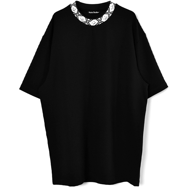 Face motif mock neck t-shirt/BLACK