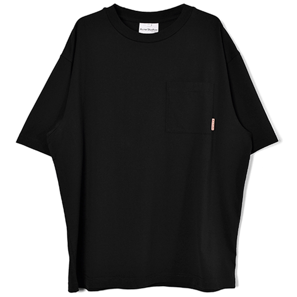 Patch-pocket cotton t-shirt/BLACK