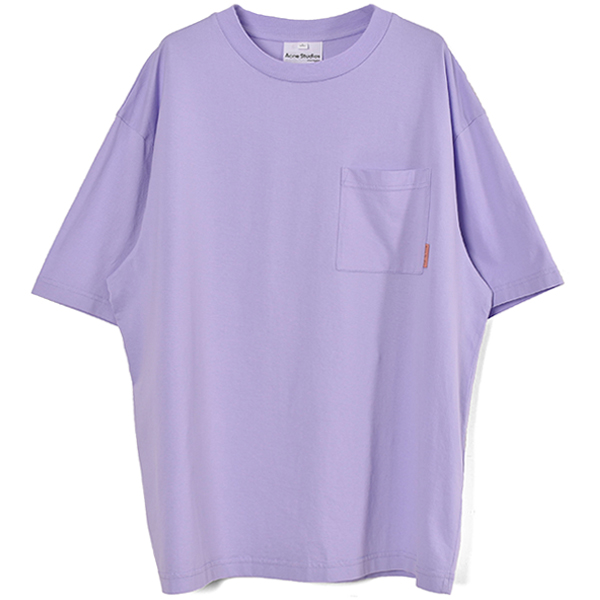 Patch-pocket cotton t-shirt/LIGHT PURPLE