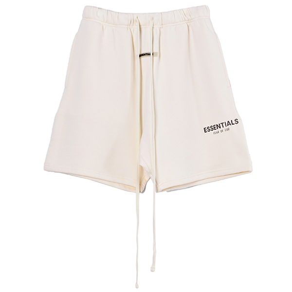 RUBBER TAG PRINT SWEAT SHORTS/CREAM
