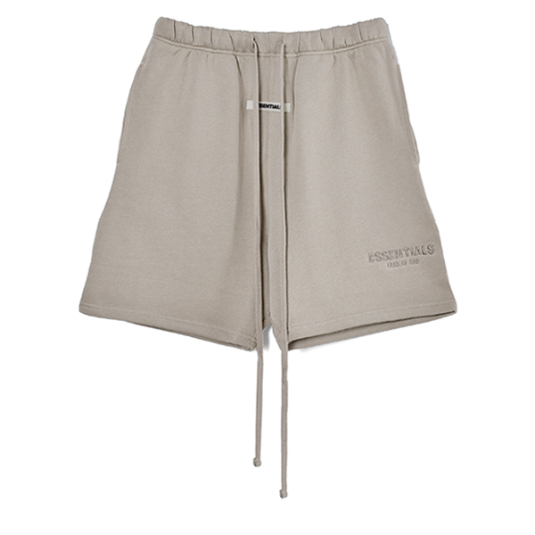 RUBBER TAG PRINT SWEAT SHORTS/TAN