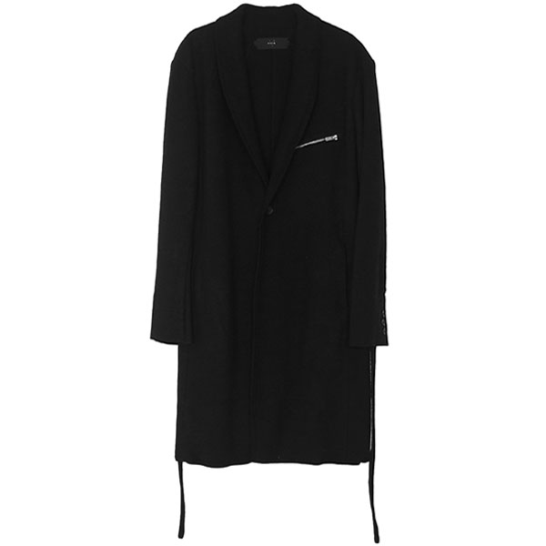 2WAY COLLAR LAYERED COAT / BLK