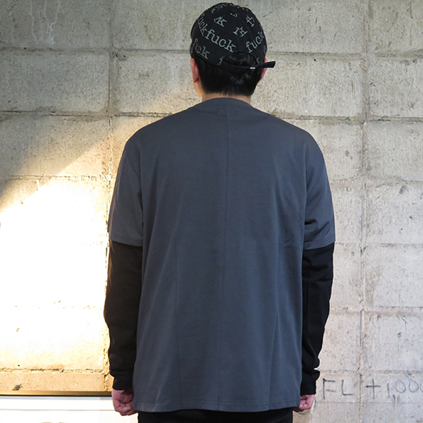 DOUBLE LAYER TEE/DARK GRAY