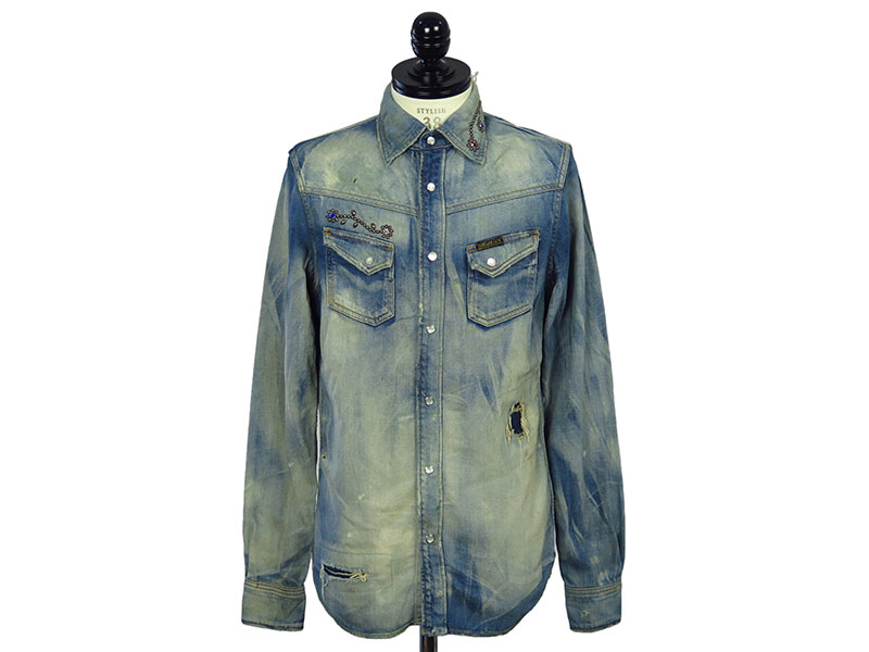 DISTRESSED DENIM SHIRT (STUDS)(MSH-A1702)