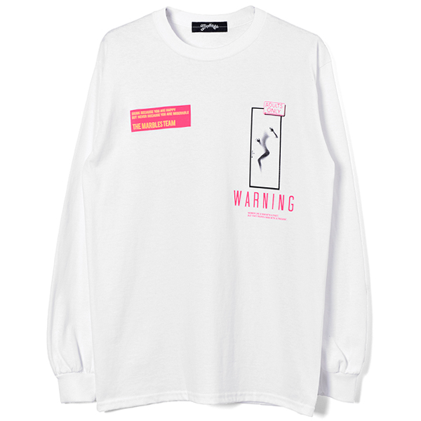 L/S TEE (WARNING)/WHITE