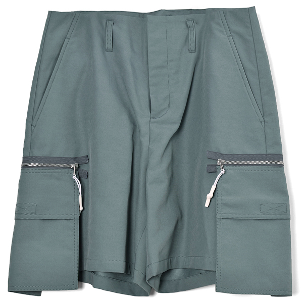 C/N HARD FINISHED CLOTH CARGO SHORTS/SAGE GREEN