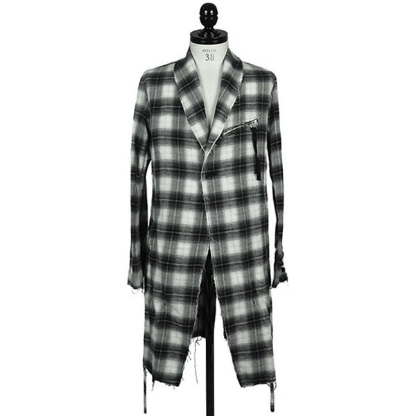 CHECK GRUNGE ROBE COAT