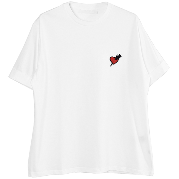 HEART PATCH T-SHIRT/WHITE