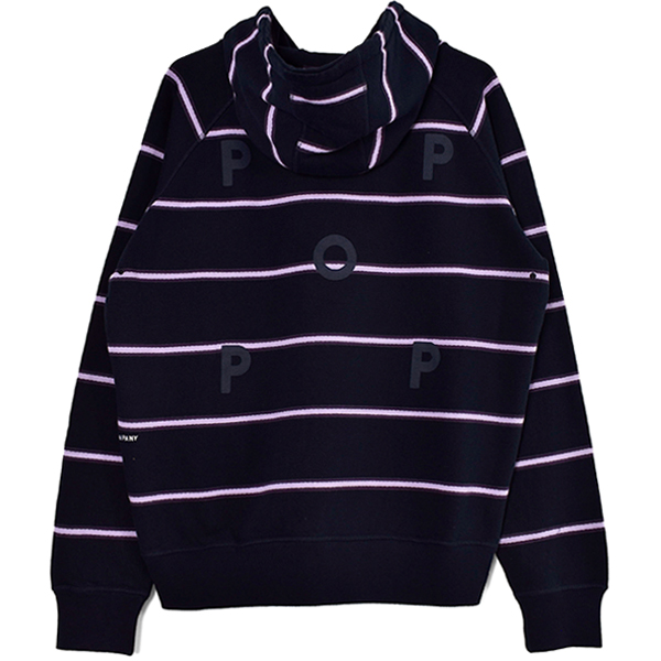Pop Striped Hooded Sweat/Navy/Violet