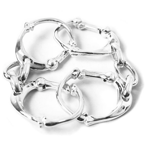 bone shaped carabiner bracelet -L-./silver
