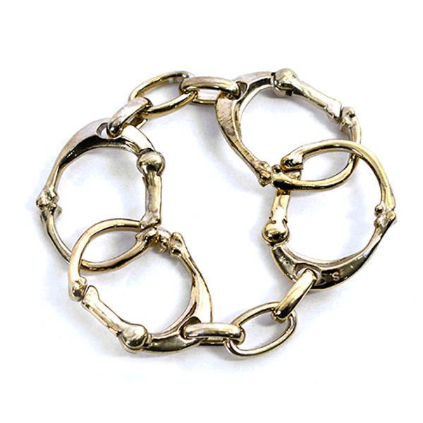 bone shaped carabiner bracelet -L-./gold
