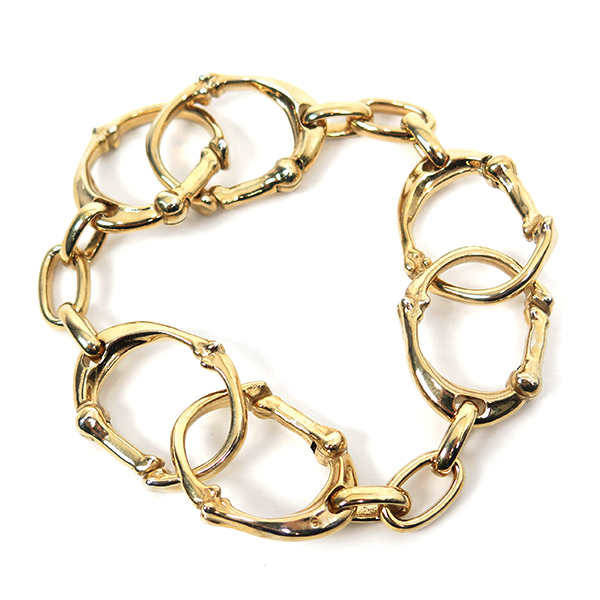 bone shaped carabiner bracelet-S-./gold