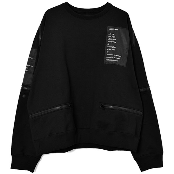 back zip crew neck l/s sweatshirt./black