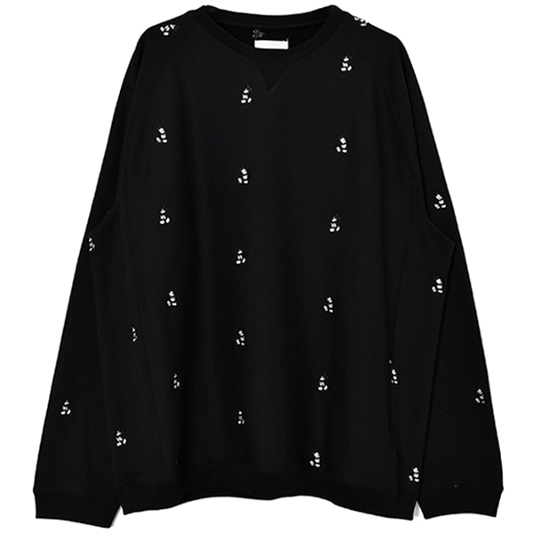 oversized Mickey Mouse embroidered c/n sweatshirt. (monotone color)/black