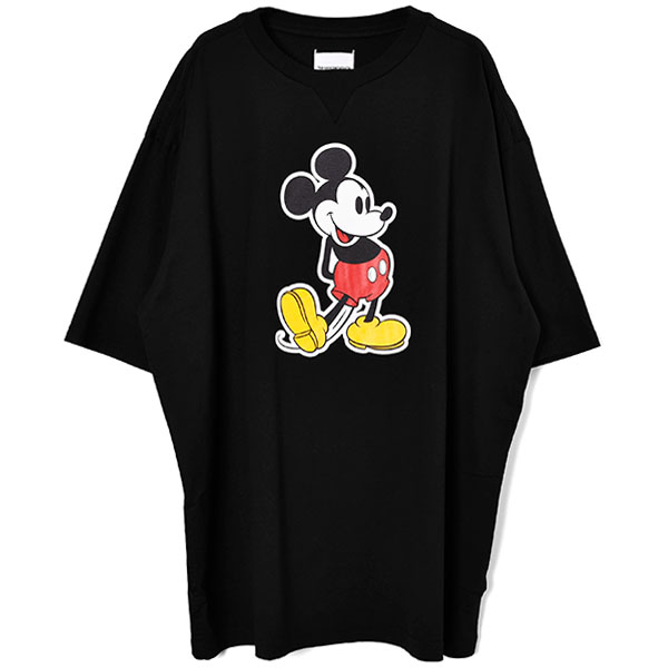oversized Mickey Mouse crew neck s/s tee./black×original