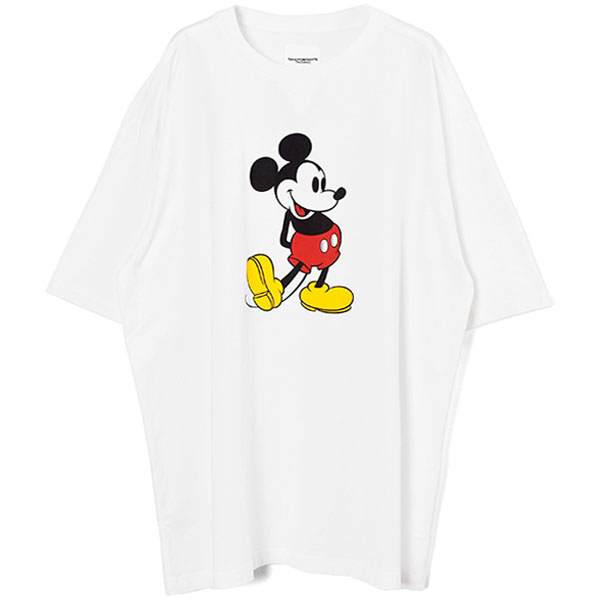 oversized Mickey Mouse crew neck s/s tee./white×original