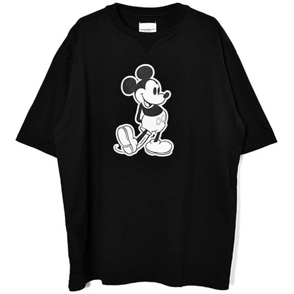 oversized Mickey Mouse crew neck s/s tee./black×monotone