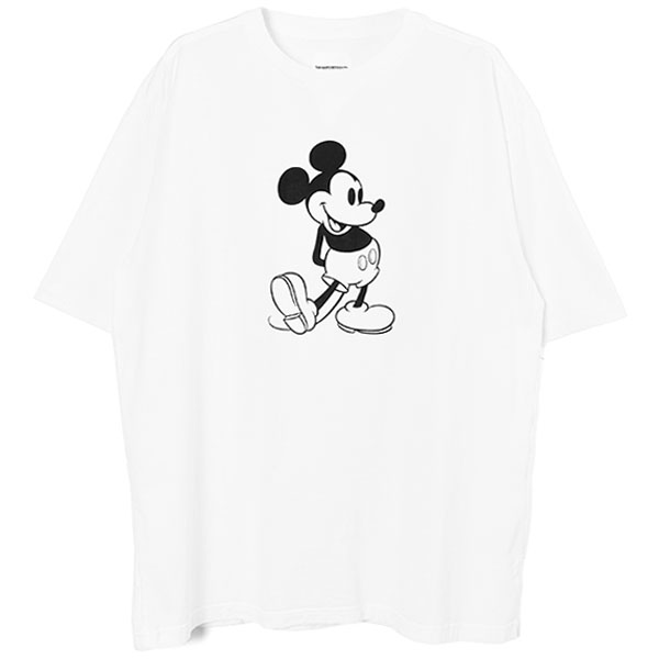 oversized Mickey Mouse crew neck s/s tee./white×monotone