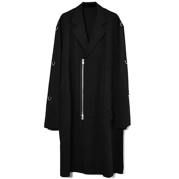 notched lapel doctor jacket/BLACK