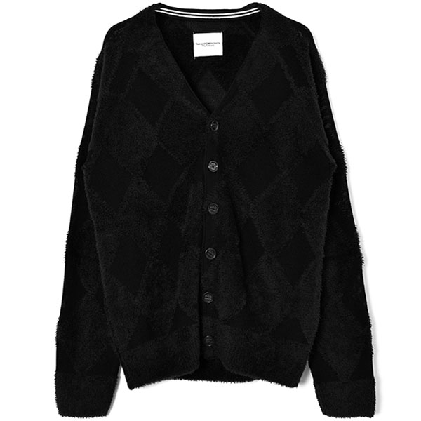 argyle cardigan./black