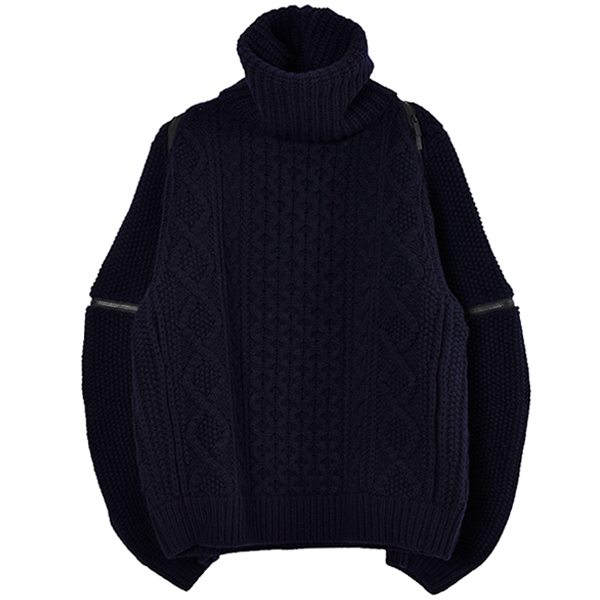 baloon sleeve back zip turtleneck sweater./midnight