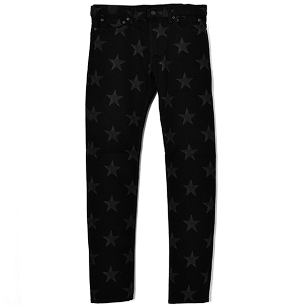 star patterned stretch slim tapered 6 pocket jean./black