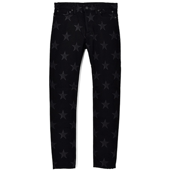 star patterned stretch slim tapered 6pocket jean./black