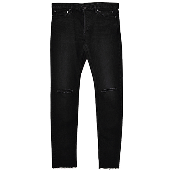 stretch slim tapered knee slit 6 pocket jean./black