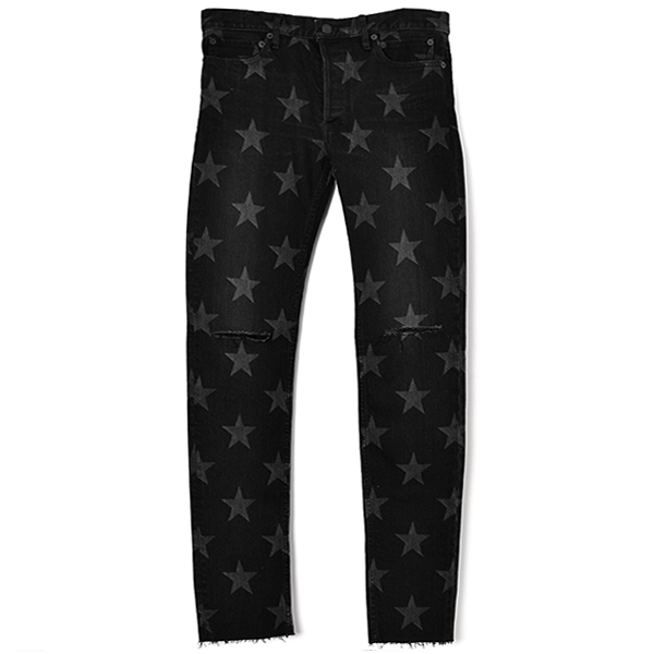 star patterned stretch slim tapered knee slit 6 pocket jean./black