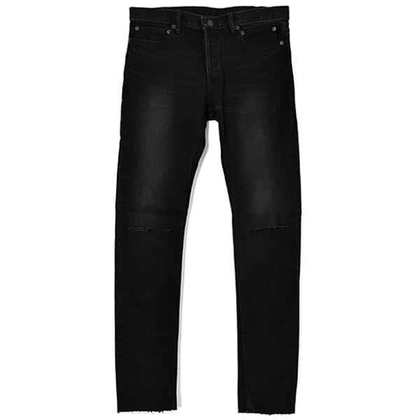 stretch slim tapered knee slit 6pocket jean./black