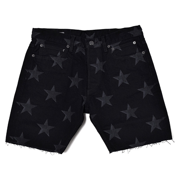 star patterned slim straight 6pocket cutoff jean./black