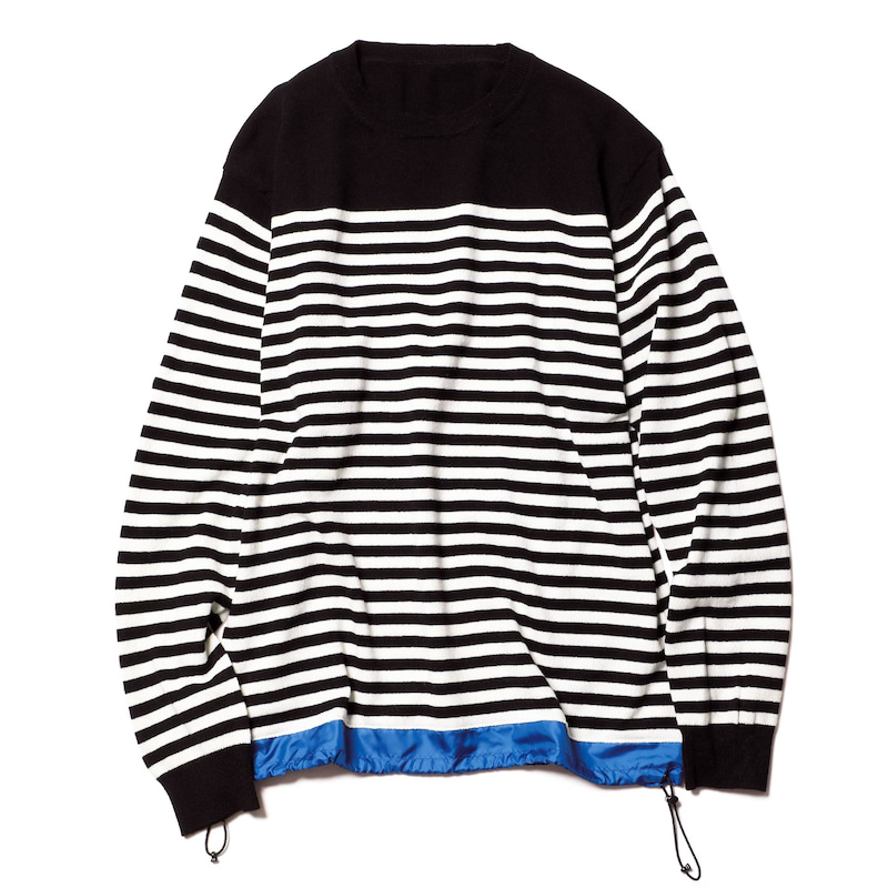 HEM PANELED CODE BORDER CREW NECK KNIT(SOPH-192119)