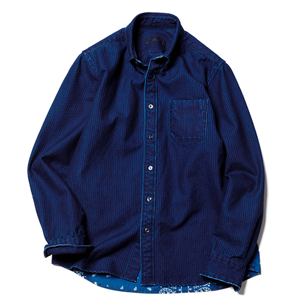 INDIGO BACK HEM PANELED B.D SHIRT(SOPH-202002)