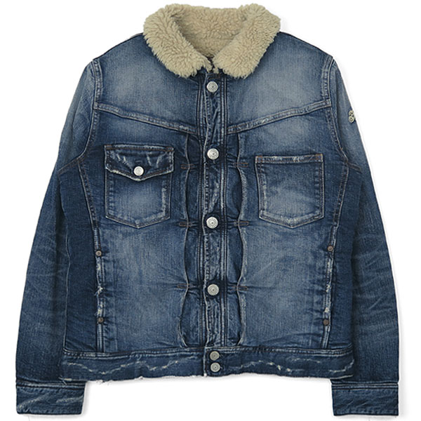 VINTAGE-STRETCH DENIM BOA JACKET/INDIGO(TJK-F1807)