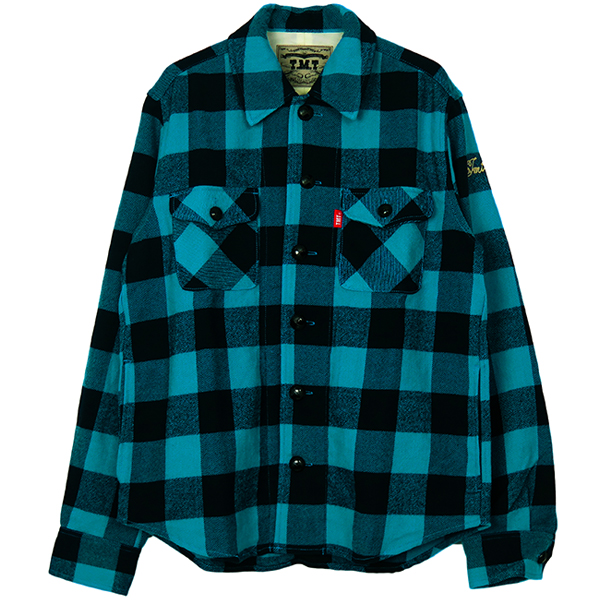 COTTON-WOOL BUFFALO CHECK SHIRTS/TURQUOISE(TSH-F1803)