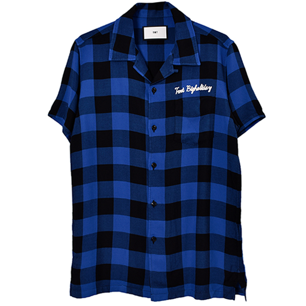 ORIGINAL RAYON BUFFALO CHECK S/SL SHIRTS/BLUE(TSH-S1907)