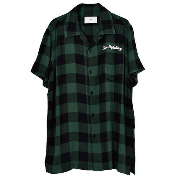 ORIGINAL RAYON BUFFALO CHECK S/SL SHIRTS/GREEN(TSH-S1907)
