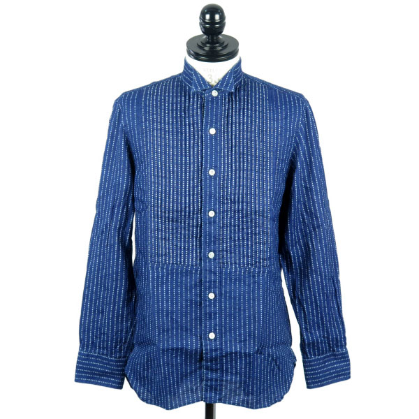 INDIGO TRUMP PRT WING COLLAR SHIRT(TSJS-61905-09)