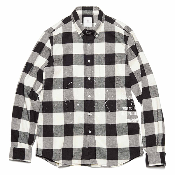【ポイント30倍】FLANNEL CHECK DRIPPING B.D SHIRT(UE-202051)
