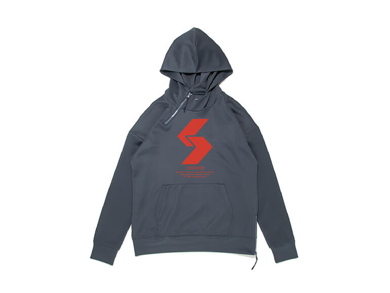 DOUBLE KNIT BIG LOGO HALF ZIP HOODIE