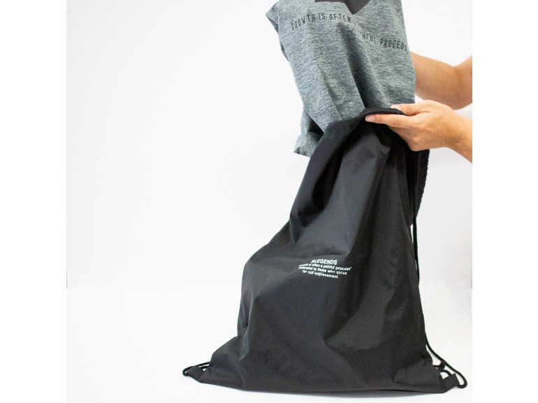 NYLON LETTERED PRINT LAUNDRY BAG【BLACK】FREE