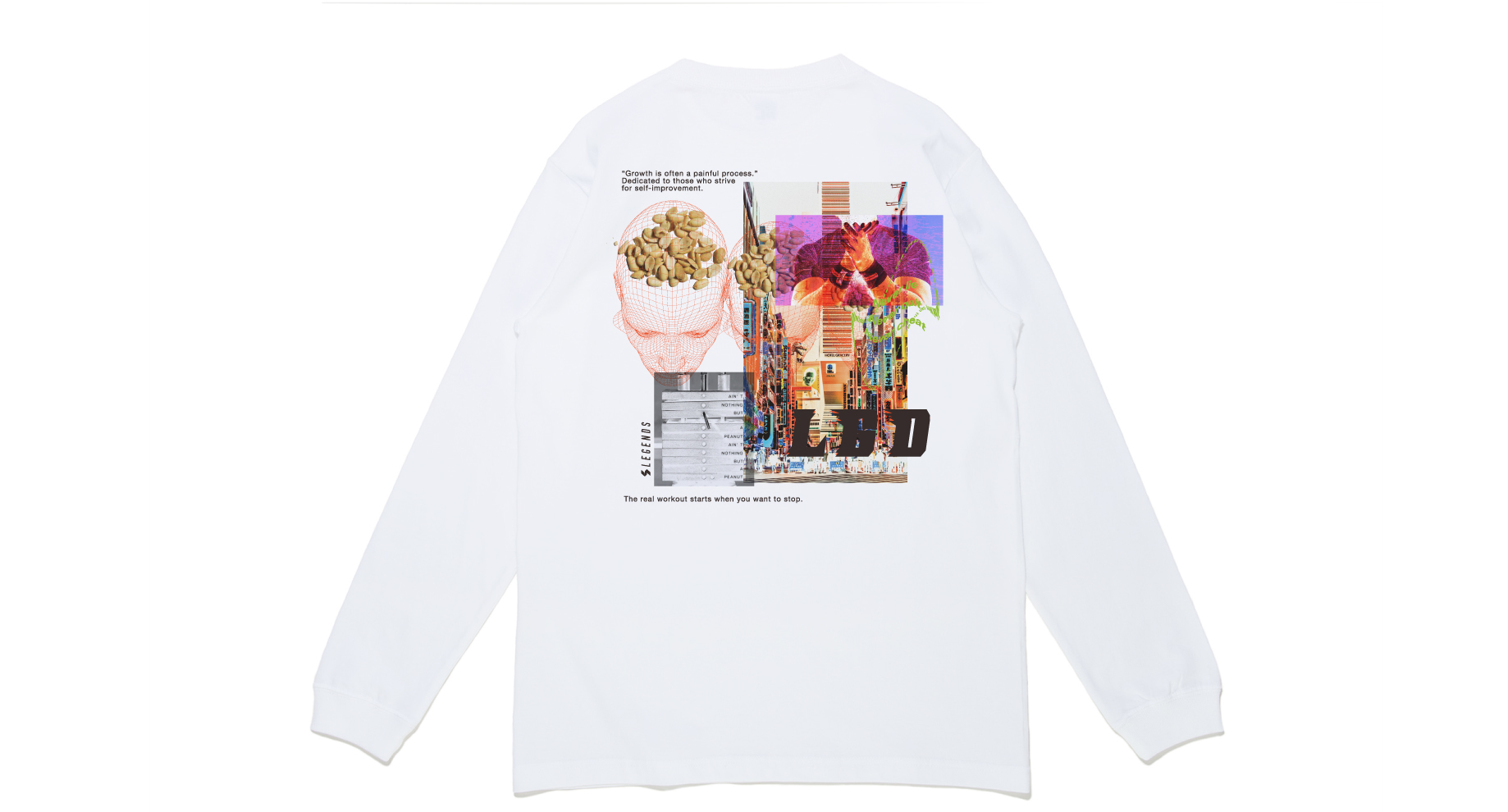 COTTON BIG COLLAGE PRINT L/S TEE