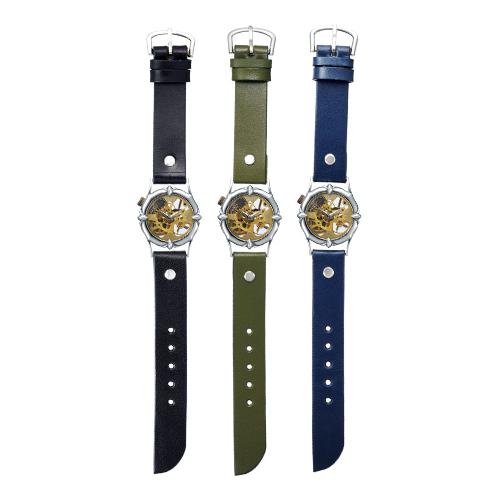 93fb7f2e39 ... 真鍮のハンドメイド手巻き式腕時計. 左からからブラック、オリーブ、ネイビー