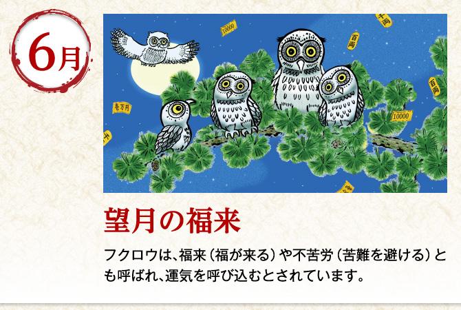 〈6月:望月の福来〉フクロウは、福来(福が来る)や不苦労(苦難を避ける)とも呼ばれ、運気を呼び込むとされています。